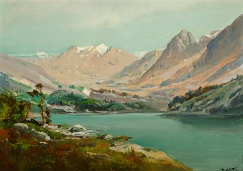 William Keith, Bullfrog Lake In Sierra, circa 1902, Oil on canvas, 14 x 20 inches, Collection of Saint Mary's College Museum of Art,  Gift of William E. Colby, 0-284