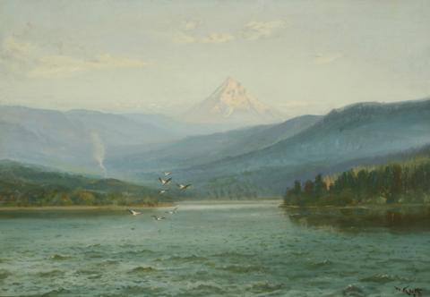 William Keith, Klamath Lake with Pelicans and Mount McLaughlin, circa 1908, Oil on canvas, 22 x 32 inches, Collection of Saint Mary's College Museum of Art,  Gift of Averell Harriman, 1948, 0-287