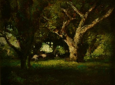 William Keith, Grand Oak Grove Miniature, circa 1890s, Oil on paperboard mounted to thicker paperboard, 7 ½ x 9 ½ inches, Collection of Saint Mary's College Museum of Art,  Gift of Mrs. Arthur Mathews, 0-299