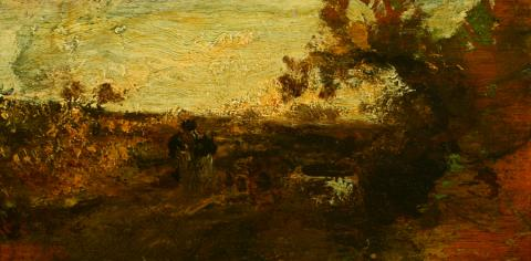 William Keith, Landscape with Two Figures, circa 1900-1911, Oil on cigar box panel, 4 ⅛ x 8 ⅛ inches, Collection of Saint Mary's College Museum of Art,  Gift of Mary McHenry Keith, 0-308