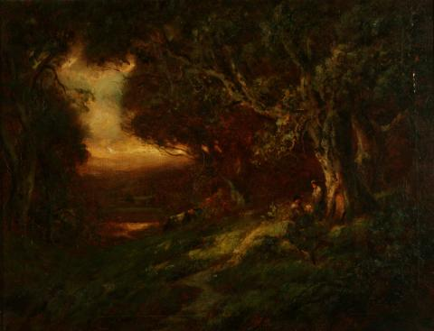 Attributed to William Keith, A Gray Day: Grand Oak Dell, 1900-1911, Oil on canvas, 28 x 22 ¼ inches, Collection of Saint Mary's College Museum of Art, 0-3