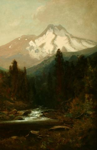 William Keith, Mount Shasta and McCloud River, circa 1878-1879, Oil on canvas, 24 x 16 inches, Collection of Saint Mary's College Museum of Art,  Gift of F.C. Dougherty, 0-43