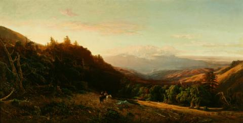 William Keith Mount Tamalpais, Golden Morning, 1872 Oil on canvas, 40 x 72 inches Collection of Saint Mary's College Museum of Art  Gift of Sidney L. Schwartz in honor of Garrett W. McEnerney 0-44