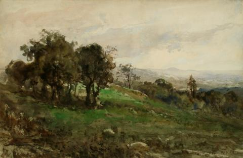 William Keith, Oaks on Hill, Pearly Sky, circa 1880s, Watercolor, 12 x 18 ½ inches, Collection of Saint Mary's College Museum of Art,  0-464