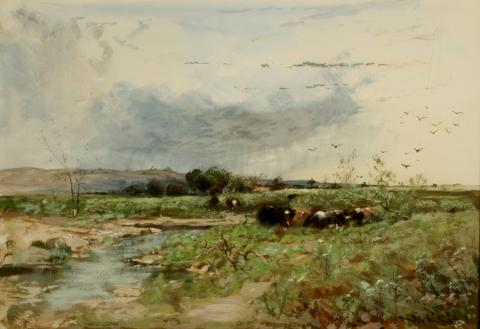 William Keith, Gray Rain Cloud, Cattle in Meadow, circa 1880-1889, Watercolor and gouache, 13 ½ x 20 inches, Collection of Saint Mary's College Museum of Art,  0-478
