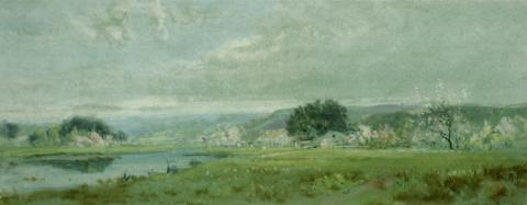 William Keith, Spring, circa 1880-1889, Watercolor, 11 x 28 inches, Collection of Saint Mary's College Museum of Art, 0-491