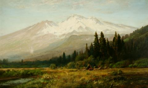 William Keith, Mount Shasta from Strawberry Valley, middle 1890s, Oil on canvas, 29 ¾ x 50 inches, Collection of Saint Mary's College Museum of Art,  Gift of Allan Green in memory of Charles E. Green, 0-58
