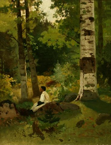 William Keith, White Robed Artist in Forest, early 1880s, Oil on canvas, 14 ½ x 11 ¼  inches, Collection of Saint Mary's College Museum of Art,  Gift of Mary B. Alexander in memory of her husband, Wallace Alexander, 0-5