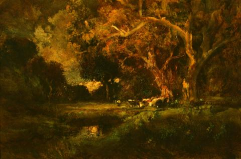 William Keith, The End of Day, circa 1906-1911, Oil on canvas, 19 ½ x 29 ½ inches, Collection of Saint Mary's College Museum of Art,  Gift of Mrs. Harry Hill in memory of Mrs. Alice Tubbs, 1958, 0-63
