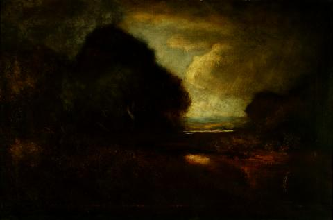 William Keith, Light Breaking Through Storm, 1900-1911, Oil on canvas, 20 x 30 inches, Collection of Saint Mary's College Museum of Art,  0-67