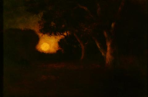 William Keith, Rembrandtesque Moonrise, circa 1906-1911, Oil on canvas, 20 x 30 ¼ inches, Collection of Saint Mary's College Museum of Art,  0-69