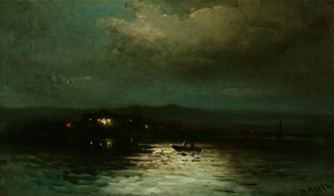William Keith, Moonlight on Bay at Sausalito, late 1880s or after, Oil on canvas, 18 x 31 inches, Collection of the Hearst Art Gallery, Saint Mary's College of California, Gift of Dr. West Hughes, 0-74