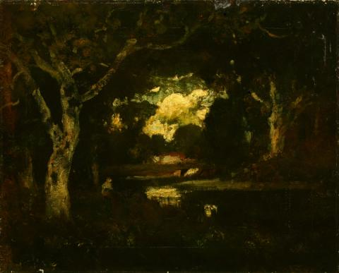 William Keith, Beethoven: Edge of Wood, circa 1900-1911, Oil on canvas, 17 ½ x 21 ¾ inches, Collection of Saint Mary's College Museum of Art,  Gift of Una Herring, 1945, 0-75