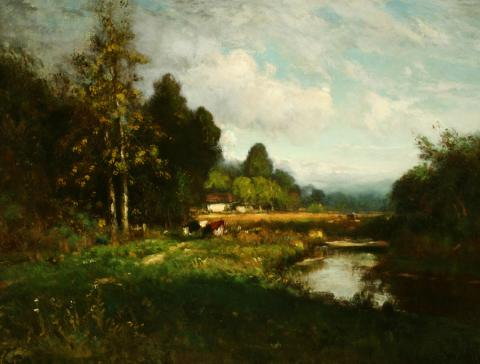 William Keith, Sunny Meadow and Stream with Silvery Clouds, circa middle 1890s,	 Oil on canvas, 29 x 39 inches, Collection of Saint Mary's College Museum of Art,  Gift of Mrs. Daniel H. Burnham, 0-76