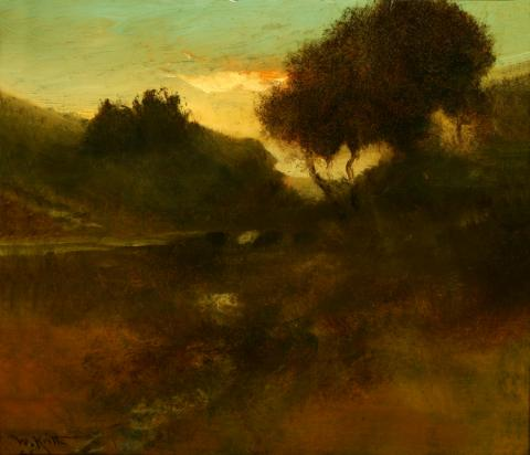 William Keith, Trees Against Golden Cloud, circa 1906-1911, Oil on canvas, 15 ½  x 17 ¾ inches, Collection of Saint Mary's College Museum of Art, Possibly gift of Harry A. Mitchell, 0-79