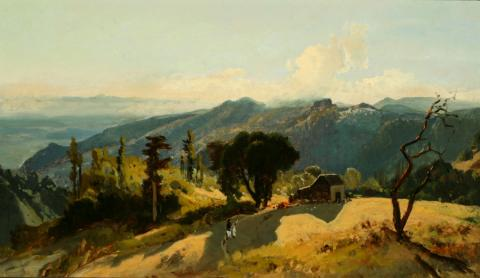 William Keith, Mountain House with Strong Shadow, circa early 1880s, Oil on canvas, 14 x 24 inches, Collection of Saint Mary's College Museum of Art,  Gift of Mary B. Alexander in memory of her husband, Wallace Alexander, 0-87