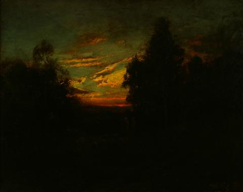 William Keith, Sunset Against Dark Woods, circa 1906-1911, Oil on canvas mounted on composition board, 16 ¾ x 21 ⅛ inches, Collection of Saint Mary's College Museum of Art,  Gift of Mrs. Charles Janin, 1953, 0-88