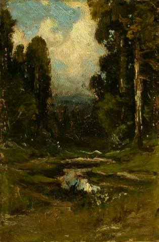 William Keith, White Cloud and Blue Sky Reflected in Pool, circa 1900-1911,	 Oil on composition board, 6 x 4 inches, Collection of Saint Mary's College Museum of Art,  0-8