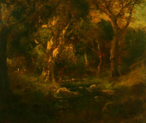 William Keith, Deep Forest Interior, 1890-1899, Oil on canvas, 22 x 25 inches, Collection of Saint Mary's College Museum of Art,  Gift of Roberta Oliver Greenlee, Mary Oliver Shannon, William Letts Oliver and Edwin Letts Oliver, Jr., 0-93