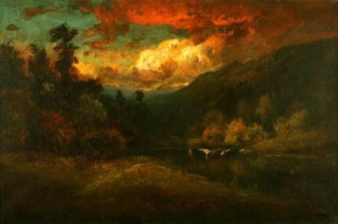 William Keith, Brilliant Yellow Clouds Against Deep Blue Sky and Dark Woods, circa 1900-1911, Oil on canvas, 20 ⅛ x 30 inches, Collection of Saint Mary's College Museum of Art,  Gift of Henrietta Blanding Lehman, 0-97