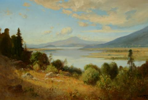 William Keith, Klamath Lake, 1907-1908, Oil on canvas, 16 x 24 inches, Collection of Saint Mary's College Museum of Art,  Gift of Averell Harriman, 1948, 0-98