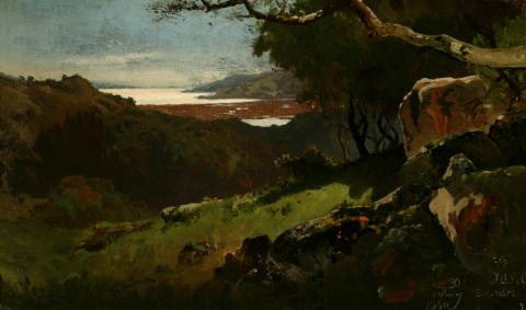 William Keith, Sketch: San Francisco Bay, 1880, Oil on canvas, 9 ⅞ x 16 ⅝ inches, Collection of Saint Mary's College Museum of Art,  Gift of Mary McHenry Keith, 1934, 0-99