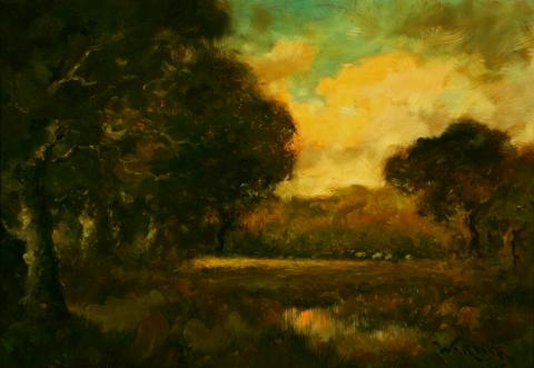 William Keith, Golden Skies, circa 1906, Oil on board, 18 x 26 inches, Collection of Saint Mary's College Museum of Art,  Gift of Josephine A. Marion, 2001.12.1