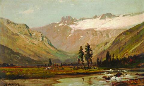 William Keith, Mount Lyell, circa 1870s, Oil on canvas, 11 ¾ x 19 ¾ inches, Collection of Saint Mary's College Museum of Art,  Bequest of Robert H.F. Variel III and Marjorie Helms Variel, 2004.10.3