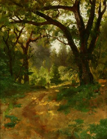 William Keith, The Oaks, circa  1880s, Oil on canvas, 21 x 17 inches, Collection of Saint Mary's College Museum of Art,  Gift of Steve and Patty Pauly, 2006.6