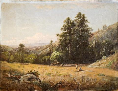 William Keith, Untitled (landscape), circa 1882, Oil on canvas, 19 ½ x 27 ½ inches, Collection of Saint Mary's College Museum of Art,  Anonymous gift,  2007.2  Inscribed, LR: W. Keith/S.F., Provenance: Keith, Dr. Mary Weston Edmunds, by descent to Anomynous Donor, SMC. Published refs: SMCMoA, The Comprehensive Keith: The Hundred Year History of the Saint Mary's College Collection of Works by William Keith, 2011, pp. 136, 211, 216.