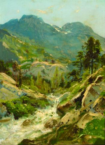 William Keith, Mountain Sketch, circa 1880, Oil on canvas, 15 ½ x 11 inches, Collection of Saint Mary's College Museum of Art,  Gift of Arthur and Jane Barrett, 2009.2