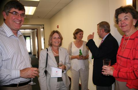 Dean Roy Wensley celebrates the opening with Provost Bethami Dobkin, Psychology Professor Mary True, Vice Provost for Finance Pete Michell and School of Science Advisory Board Member Nancy Moschel.