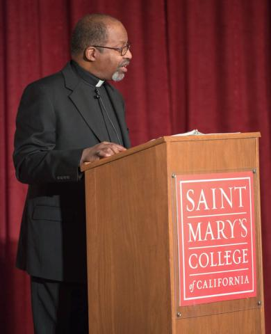 Rev. Edward Branch, the Catholic Chaplain of the Atlanta University Center, a consortium of historically black colleges and universities, delivers a lecture on the journey of Black Catholics.