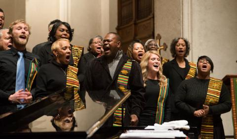 The St. Columba Catholic Church Gospel Choir perform at Saint Mary's.