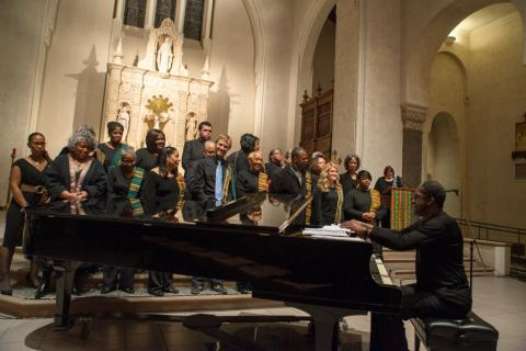 St. Columba's gospel choir and music director Rawn Harbor lift Saint Mary's chapel to new heights.