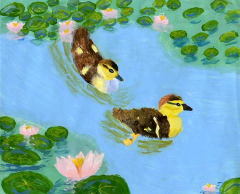 The Water of Ducks, Annie Wang, age 11 Norcross, Georgia Shijun Art Studio Teacher: Shijun Munns, 2013 River of Words Finalist