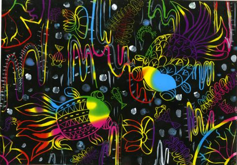 Colourful River and Happy Fish, Cheuk Lam Choi, age 9 Hong Kong Art for U Creative Workshop Teacher: Evans Ng, 2013 River of Words Finalist