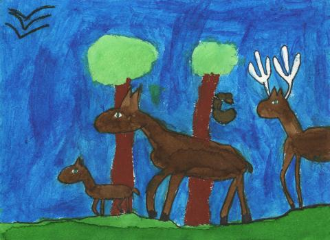 """The Herd of Dancing Deer"" by Katya Bowers (7), Cumming, GA (c) 2014 River of Words"