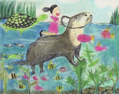"""""""Travel with a Beaver"""" by Ellie Choe (7), Grand Prize Winner Category I, Whitestone, NY"""