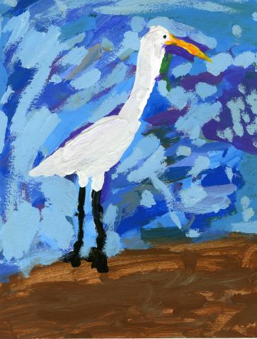 """The Watchful Great Egret"" by Arabella Micaela Cueto (8), Vallejo, CA (c) 2014 River of Words"