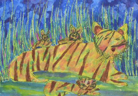 """The Tiger Family"" by Kennard Alvaro Hadinata (6), East Java, Indonesia (c) 2014 River of Words"