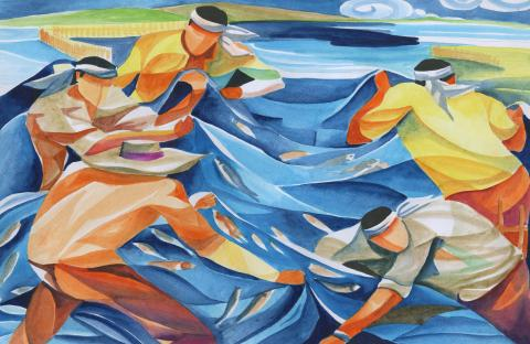 """Fishermen at Work"" by Jerrika Shi (17), International Grand Prize Winner, Manila, Philippines (c) 2014 River of Words"