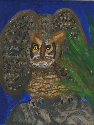 """The Great Horned Owl"" by Jonah Kai Vicari (8), Vallejo, CA (c) 2014 River of Words"