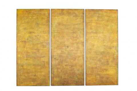 Christel Dillbohner (b. Germany, 1956) Scarred/ Sacred III, 2004, triptych oil and wax on wood, Gift of Gero Leson [2015.4a-c]