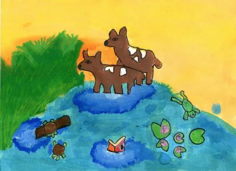 """Sunset on the Pond"" by Siri Bhandia, age 7. 2015 River of Words Finalist. Cumming, Georgia. Shiloh Point Elementary, Teacher: Tanya Cheeves"