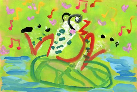 "2015 River of Words Finalist ""The Lovely Frog"" Vinci Chan, age 5. 2015 River of Words Finalist. Hong Kong, China School of Creativity. Teacher: Stephanie Yip"