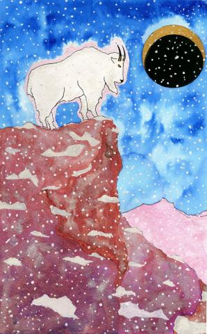 """Night Mountain Goat"" Mira Darham, age 16. 2015 River of Words Finalist. Bozeman, Montana"