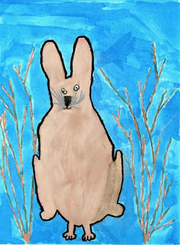 "2015 River of Words Finalist ""Snow on Rabbit"" Pariprita Mallavarapu, age 9. Cumming, Georgia. Shiloh Point Elementary - Teacher: Tanya Cheeves"