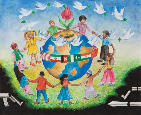 "2015 River of Words Finalist. ""Peace & Love"" Mezhgan, age 16. Quetta, Pakistan (Afghan national). Hatif Art Gallery - Teacher: Hassan Ali Hatif"