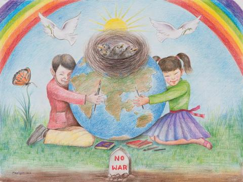 "2015 River of Words Finalist ""Our World, Our Future"" Ahmad Shekib, age 13. (Afghan national) Quetta, Pakistan. Hatif Art Gallery - Teacher: Hassan Ali Hatif"